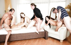 A few European 18-19 year-old chicks double penetrated during fantastic real hardcore orgy party