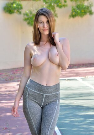 Kitten named Amber Hahn exposes boobies and plus ass during jogging and plus shoves dong inside