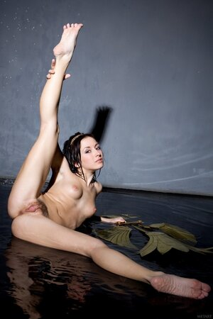 Pretty brunette comes to studio for nude photo shoot in seductive poses