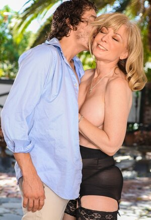 Old woman with blue eyes knows how to entice young fellas who will make love her