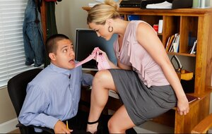 Office man impales butted blonde colleague with great assets on his cock