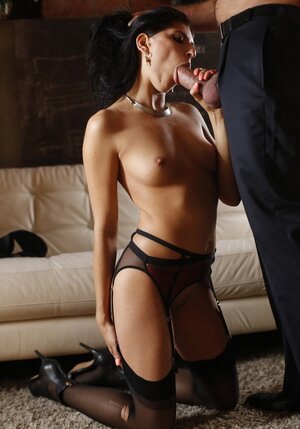 Sinful brunette copulates with aroused Latin lover while husband is at work